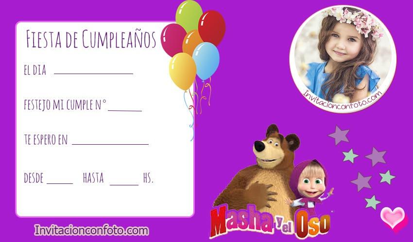 Invitaciones De Cumpleanos De Masha Y El Oso Con Foto