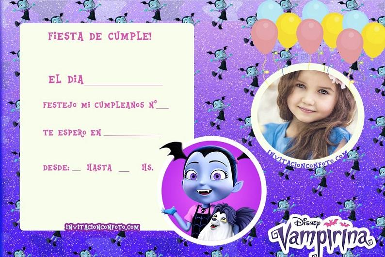 Invitaciones De Cumpleanos De Vampirina Con Foto