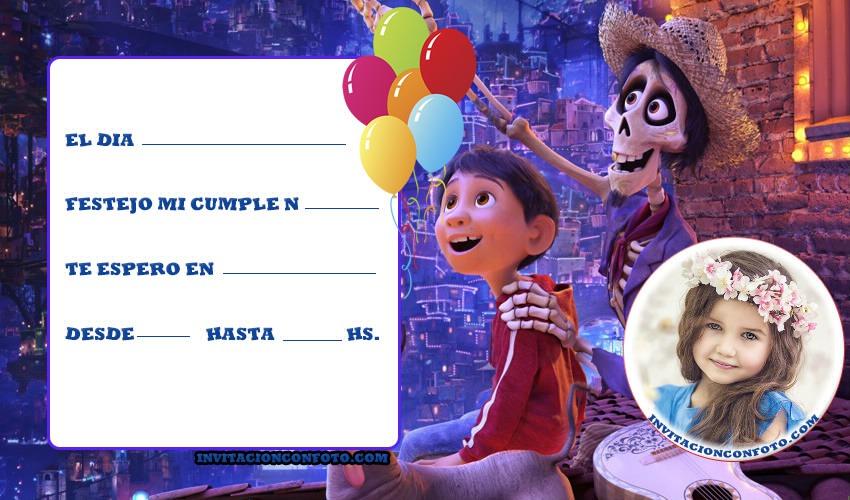 Invitaciones De Cumpleaños De Coco Disney Con Foto