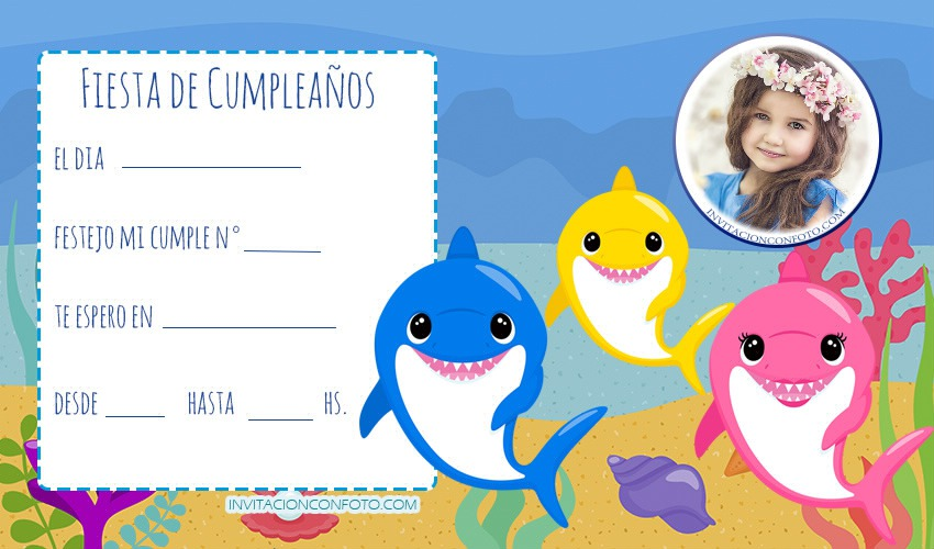 Invitaciones De Baby Shark Para Editar Gratis