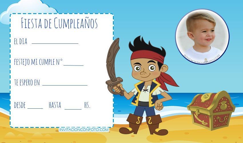 Invitaciones De Cumpleaños De Jake Y Los Piratas Con Foto